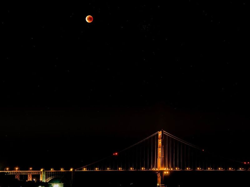 International Orange Blue Blood Super Moon California Universe Tourist Destination Bridge Orange Moon Supermoon Blood Moon 2018 San Francisco Bay Stars Night Sky San Francisco Golden Gate Bridge Blue Moon Full Moon Night Bridge - Man Made Structure Connection Suspension Bridge Engineering Transportation Outdoors First Eyeem Photo