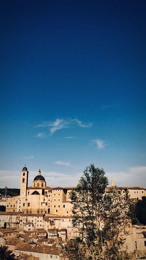 View of old town against blue sky