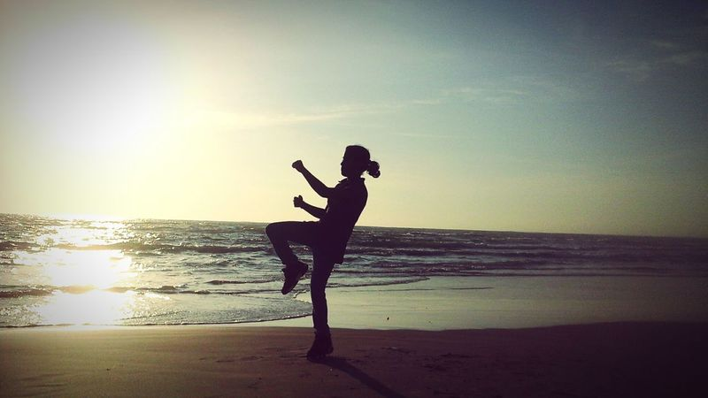 karate in beach. Beach Beach Photography Karategirl Kikin In Beach Evening Sunset Mannarsri Lanka