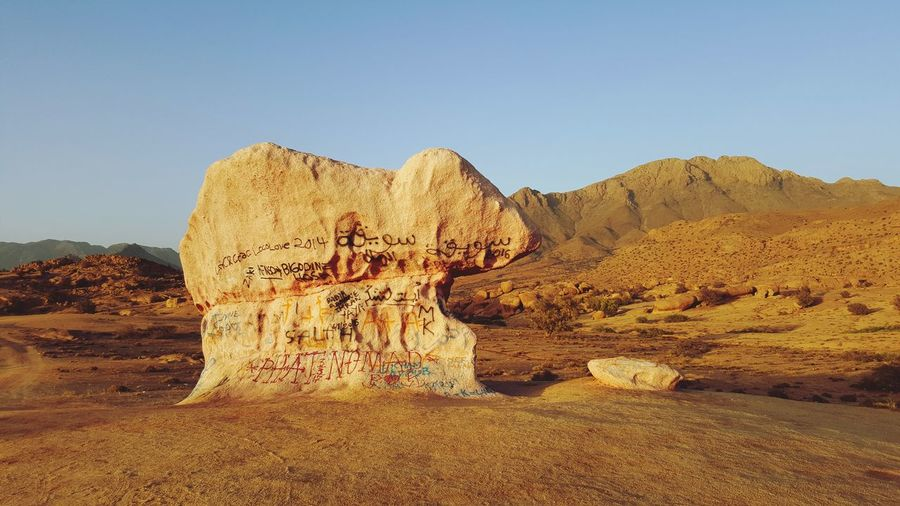 a rock Travel Photography Tranquility Travel Photography Traveling Trip MoroccoTrip Decoration Amazing Village Rock Rock - Object Skyblue Morocco Sand Desert Rock - Object Nature Outdoors Travel Destinations Beauty In Nature Scenics Arid Climate Landscape Sand Dune Sky