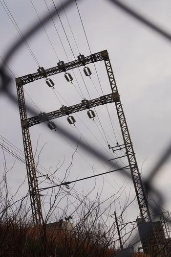 Transmission line/貨物線 Transmission Line Tower Railway Cloudy Showcase: February Walking Around LUMIX DMC-GM5K in Tokyo Japan
