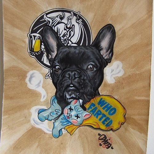 regram @drawmeamonkey This one is for the old farters 😋😘✌️ @drawmeamonkey Batpig Frenchbulldog Frenchie Frenchiedrawing Frenchieportrait Dogportrait Bulldog Bullies Instadogs Neversleep Tattooart Tattoo Originalartwork Oldfart Arrogantbastardale