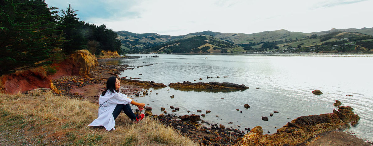 Akaroa Akaroa, New Zealand Enjoyment Excercise Full Length Happy Lake Lake View Landscape Leisure Activity Lifestyles Mountain Nature Nature New Zealand One Person Outdoors Rear View Self Potrait Smile Tranquility Travel Tree Trekking Working Holiday