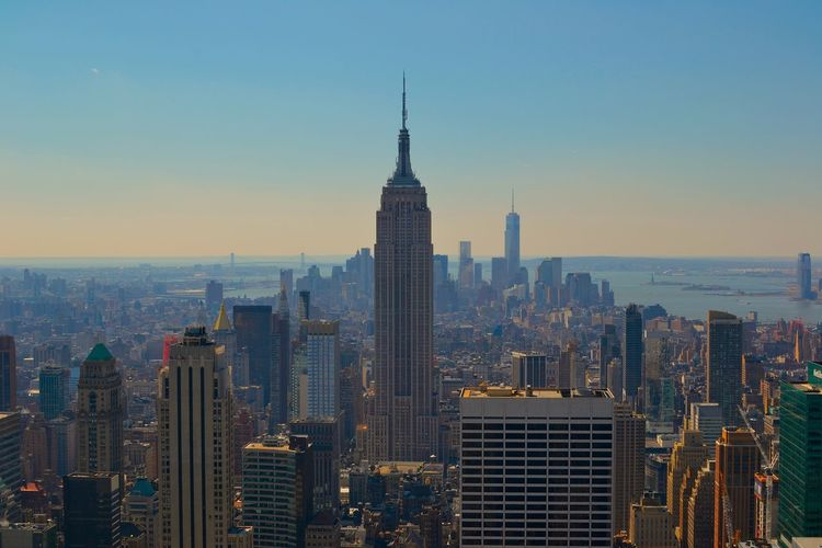 New york city skyline, empire state building at dusk