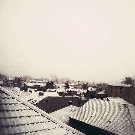 Traces of Winter . Snow Snowflakes Cluj clujnapoca sombre roof rooftops quiet romania
