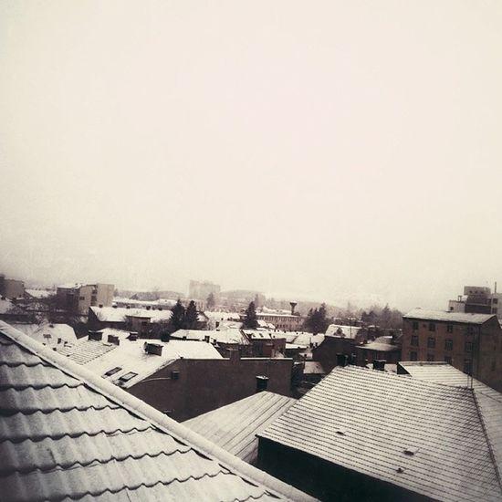 Traces of Winter . Snow Snowflakes Cluj clujnapoca sombre roof rooftops quiet romania
