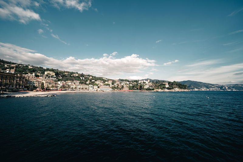 Santa Margherita Ligure Water Sky Sea Scenics - Nature Beauty In Nature Cloud - Sky Nature Waterfront Outdoors City Building Exterior Land Tranquil Scene No People Day Tranquility Mountain Architecture Blue
