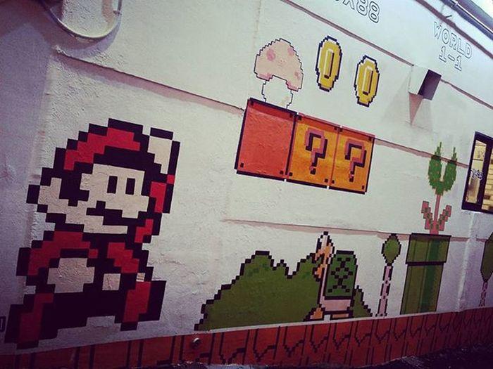 Supermario on the wall Coins Powerups Savetheprincess Childhood