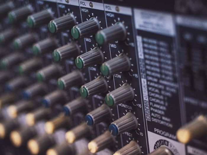 In A Row Sound Recording Equipment Selective Focus Indoors  No People Technology Large Group Of Objects Music Sound Mixer Close-up Recording Studio Control Panel Day Mixer Mixer Desk Panel Music Sound