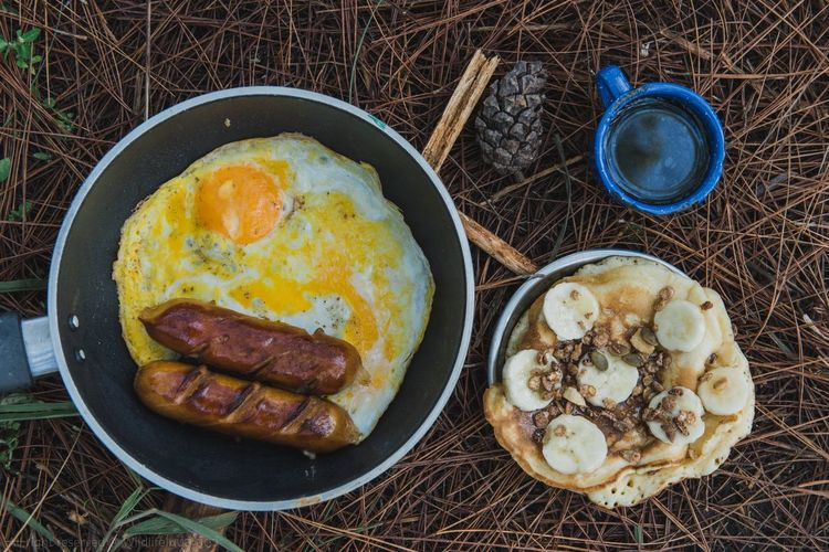 Morning Food Camping Morning Goodlife Nature Environment Thailand Asian  Outdoors Food And Drink Food Egg Directly Above Ready-to-eat Meat Freshness Table Egg Yolk Still Life Breakfast High Angle View No People Fried Sunny Side Up Healthy Eating Fried Egg Processed Meat Sausage Meal EyeEmNewHere
