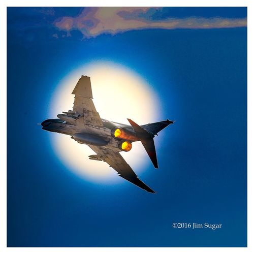 Vietnam era F-4 Phantom shooting touching goes at the airport in Addison Texas. Very noisy. I thought the back molars in my mouth would vibrate loose.