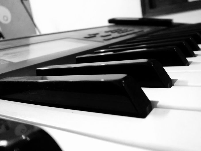 The Blacks and Whites of music. Piano Music Blackandwhite Blackandwhite Photography Mobilephotography PhonePhotography Musical Instrument Classical Music Piano Music Piano Key Arts Culture And Entertainment Black Color Close-up Synthesizer Keyboard Instrument Classical Musician Musical Equipment Music Style