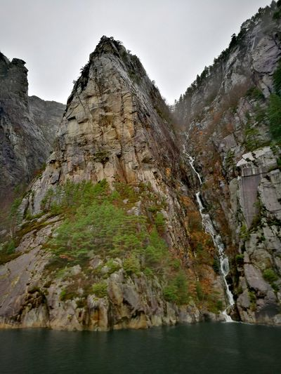 Lysefjord Norway Beauty In Nature Beauty Waterfall Fjord Fjordsshot Water Mountain Cold Winter No People Tranquility Tranquil Scene Fjordland Norway Travel Destinations
