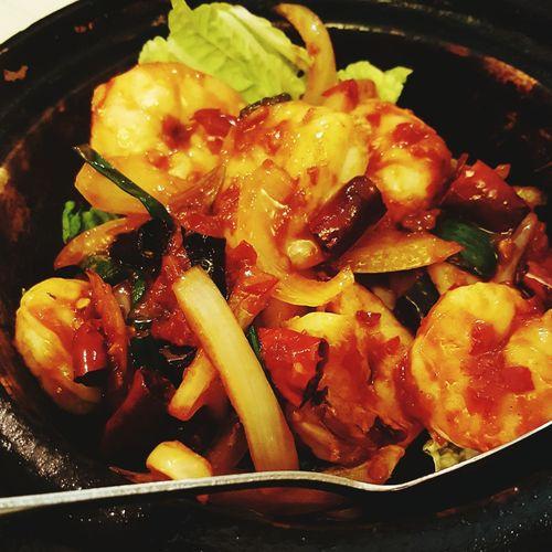 Szechuan chilli prawns