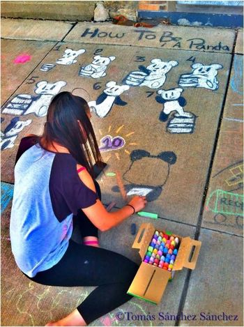 """Yesterday...I truly do love pandas haha...this is my """"How To Be A Panda"""" Chalk art. Its a white bear who, little by little, colors itself and turns into a panda in the end! Haha I'll post the finished piece soon(: Pandas♥ Street Art Chalk Art Check This Out"""