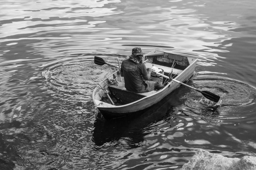 Black & White Blackandwhite Day High Angle View Julhofragaphotography Lake Nature Nautical Vessel One Person Outdoors Paddling People Pretoebranco Real People Rippled Water Waterfront