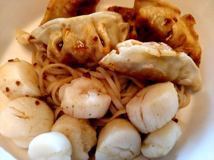 Close-up Focus On Foreground Food Freshness Fuquay Varina, N Goyoza Indulgence Meal No People Noodle Ready-to-eat Scallops Seafood Selective Focus Served Serving Size Still Life White