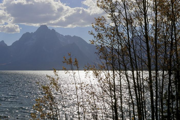 Autumn colors Grand Teton National Park  Wyoming, USA Lake View Majestic Mountains Sunset Table And Bench Travel Destination