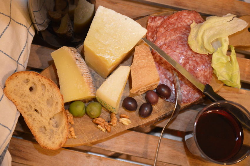 italian snack cheese salami olive sald bread wine Food And Drink Bread Healthy Eating SLICE Indoors  Cheese Food No People Italian Food Appetizer Olive Ready-to-eat Close-up Tapas Black Olive Day