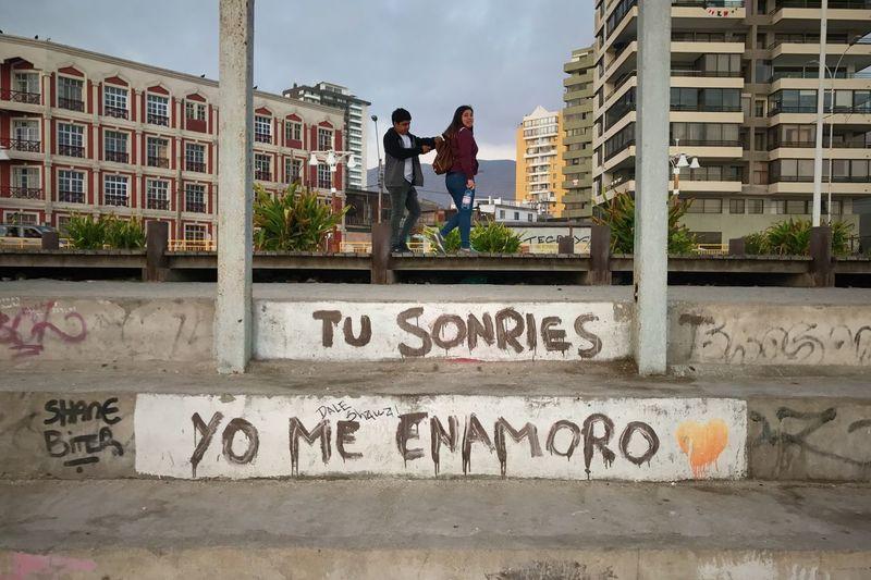 Graffiti on building in city