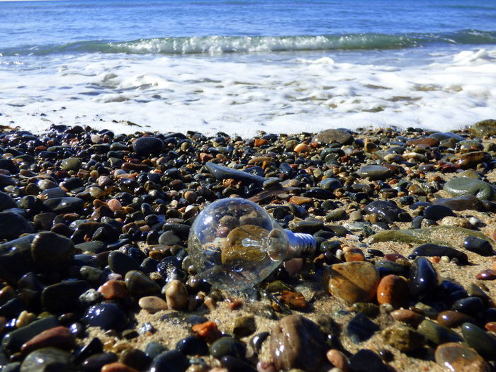Beach Contaminated Nature Contaminated Water Day Light Bulb Nature No People Object Outdoors Pebble Pebble Beach Residue Sea Shore Surface Level Things That The Sea Brings Back To The Beach Water