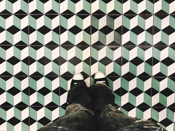 Floor Pattern Low Section Human Leg Standing Tiled Floor Shoe One Person Indoors  Human Body Part People Day EyeEmNewHere