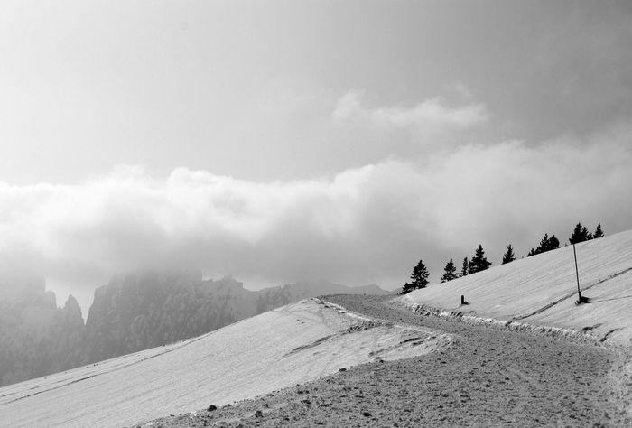 Winter Cold Temperature Snow Outdoors Nature Mountain Beauty In Nature Landscape No People Tranquility Way To Go White Beauty In Nature Silence Nature HJB Clouds And Sky Fog Blackandwhite Photography