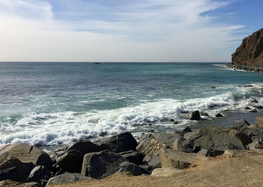 Scenic view of Pacific Ocean from rocky beach at Dana Point, California Dana Point, Ca California Coast Ocean View Beach Beauty In Nature Day Horizon Over Water Nature No People Ocean Outdoors Pacific Coast Pacific Ocean Rock - Object Scenics Sea Sky Tranquil Scene Tranquility Water Wave