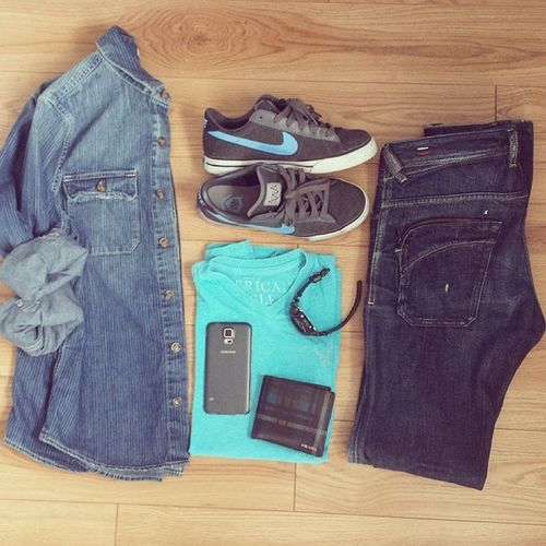 Outfit of his day. Oohd Blue Jeans Nike simple forhim accessories gshock watch prada wallet samsungs5 phone asian