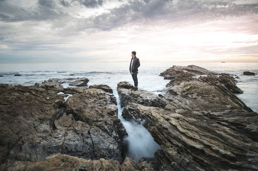 🌊 Newport Vibez 🌊 Cloud - Sky Rock - Object Outdoors Coastline Tranquility Sea Landscape Scenics One Person Ocean Newport Beach California California Coast Newport Coast Corona Del Mar Beach Corona Del Mar Waves Sunset EyeEmNewHere EyeEmNewHere