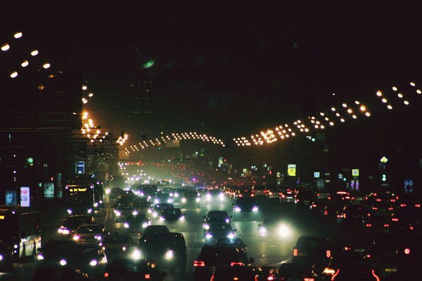 Night Sky Illuminated Outdoors Moscow, Москва City Life Russia россия Cityscape ЛенинскийПроспект калужская площадь Citylights✨ DarkRoad Cars Plentyofcars