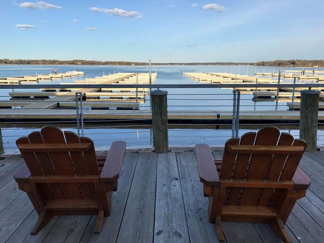 Chair Water Table Nautical Vessel Sky No People Day Wood - Material Lakeview Outdoors Seat Nature Dockside Relaxing