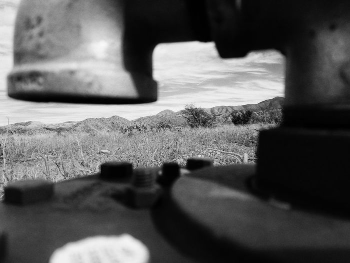Selective Focus Focus On Foreground Close-up No People Smartphone Photography Smartphonephotography Galaxy Note 7 Photography Outdoors Sunny Day Monochrome Photography Sky Surface Level Metal Man Made Object Iron - Metal Landscape Cloud - Sky Arizona Atwork Jobsite  Valve Saddlebrooke