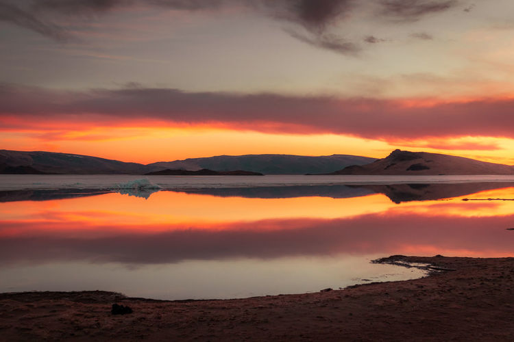 Mongolia Sunset Sky Beauty In Nature Cloud - Sky Scenics - Nature Tranquil Scene Tranquility Orange Color Idyllic Water No People Nature Non-urban Scene Environment Dramatic Sky Mountain Remote Outdoors Land