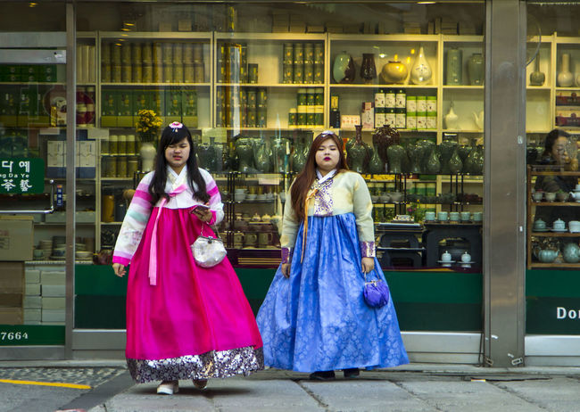 Fun Funny Seoul South Korea Traditional Clothing Adult Colorful Day Fashion Fat Friendship Full Length Hanbok Insadong Outdoors People Real People Smiling Standing Street Fashion Streetphotography Streetstyle Togetherness Two People Young Adult