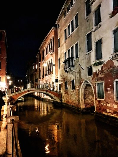 Venice • 2017 Building Exterior Architecture Built Structure Reflection Canal Night Window City Sky Water Outdoors first eyeem photo