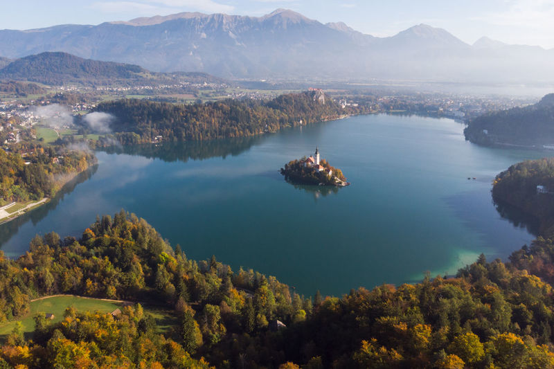 Aerial view of lake against mountain
