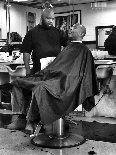 Black And White Barber Shop Candid