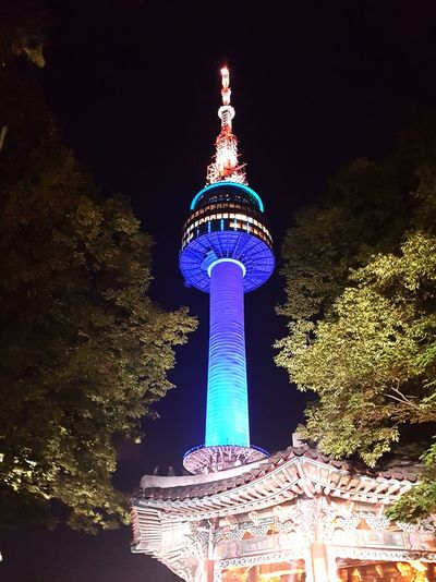 One summer night at the N-tower. Night Architecture Park - Man Made Space Sky City Old & New Namsan Tower  Namsan Traditional House Village Outdoors Seoul, Korea Landmark Summer