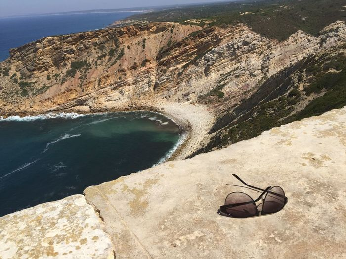 Alone I Am Alone Quiet Sea On Rocks Beach Nature See Far Sunglasses