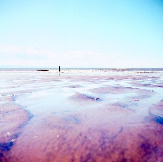 Yashica 635 Water Sea Clear Sky Low Tide Beach Blue Sand Awe