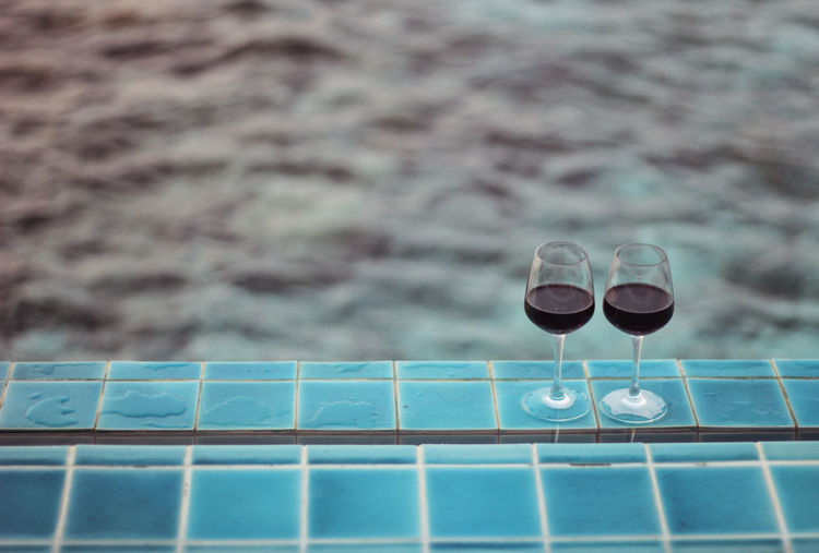 Wine Not Wineglass Water Swimming Pool Outdoors Wine Vacations Sea Nature Honeymoon Maldives Vacation Relax Glass Red Wine Breathing Space
