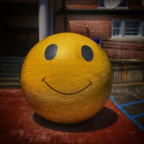 Tadaa Community Yellow Close-up No People Representation Focus On Foreground Ball Anthropomorphic Smiley Face Sphere Face Built Structure Single Object