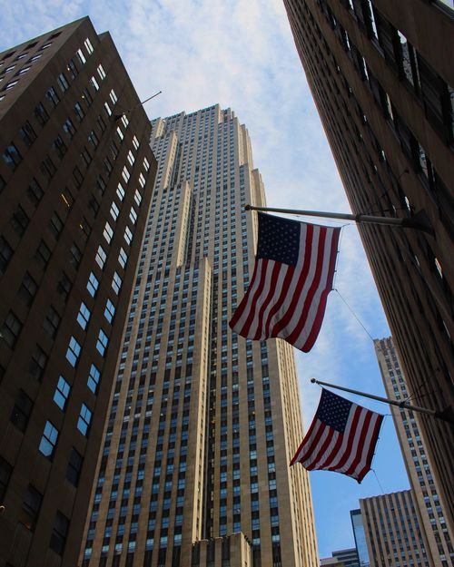 NYC Flag Low Angle View Striped Stars And Stripes Freedom Building Exterior Built Structure Architecture Outdoors