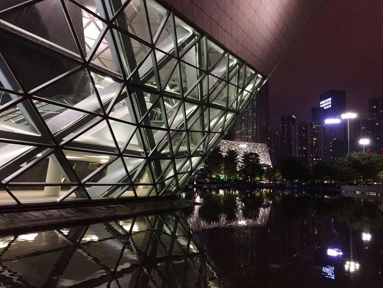 Archetecture Opera House Guangzhou Downtown Night Cities At Night archetoperaguadowntnight