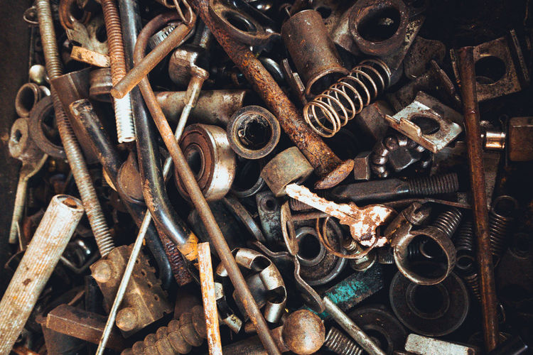 Full frame shot of rusty work tools