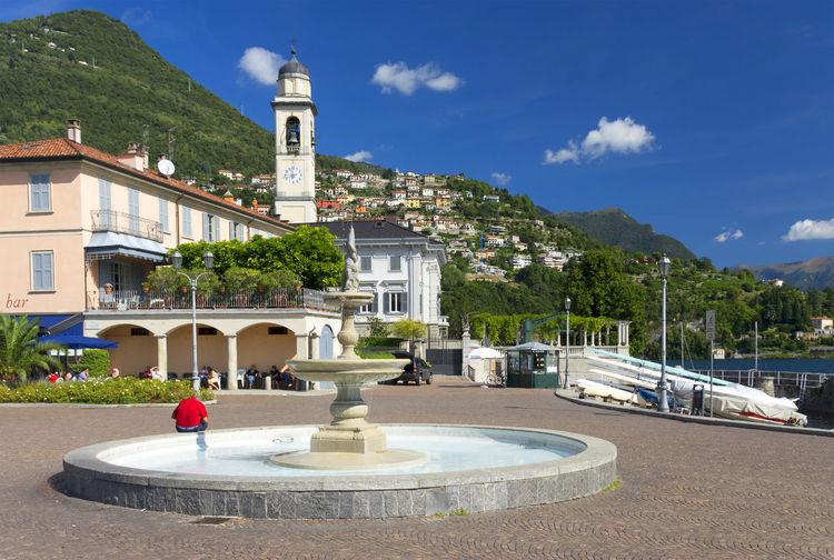 Fountain Against Built Structures On Landscape