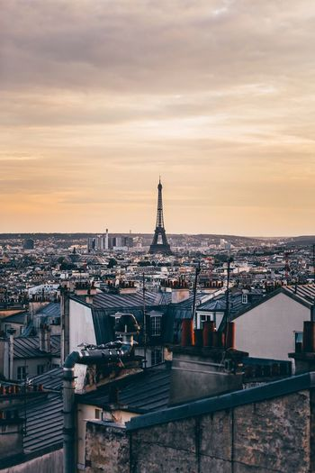 Paris' roofs Sky Architecture Cloud - Sky Sunset Built Structure Building Exterior Water No People Cityscape Residential District City