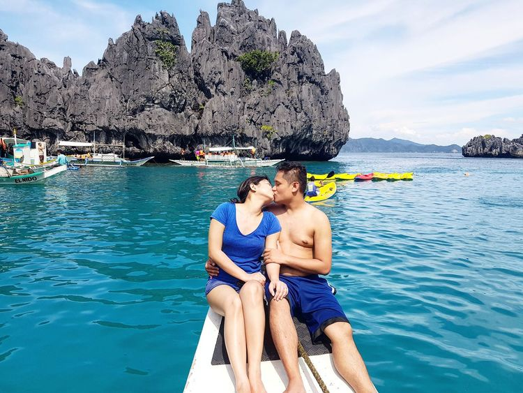 Two People Water Heterosexual Couple Vacations Togetherness Person Relaxation Young Adult Young Women Adult People Men Summer Outdoors Horizontal Day Happiness Only Men Elnidopalawan Hubbywifey Ocean Paradise Palawanadventures