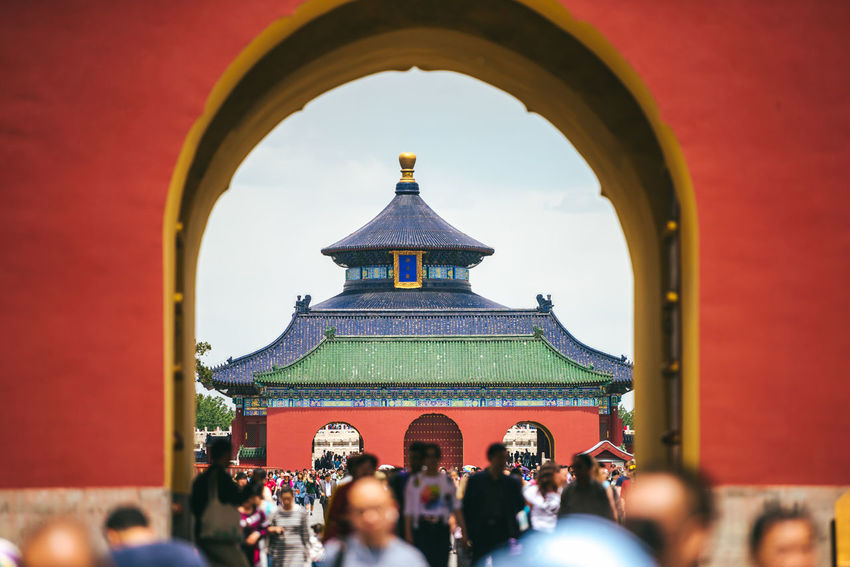 Temple of Heaven Park in Beijing, China ASIA Temple Of Heaven Park Architecture Building Exterior Built Structure Crowd Day Large Group Of People Leisure Activity Lifestyles Men Outdoors People Place Of Worship Real People Religion Sky Spirituality Women